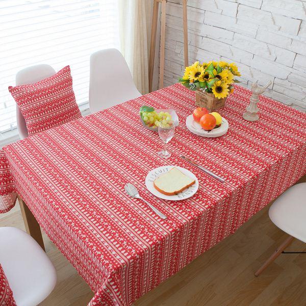 christmastree reindeer red linen cotton table cloth. Black Bedroom Furniture Sets. Home Design Ideas