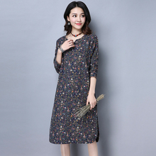 Classic Retro New Chinese Style Spring Women Loose Big Yards Peony Print V Neck Long Sleeve A Line Fall Dress(China)