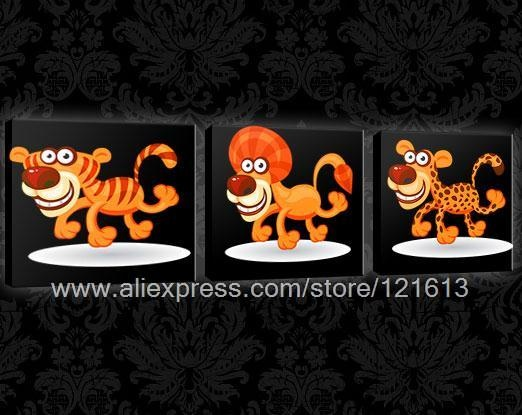 Funky Animals Panels Canvas Kids Art Oil Paintings Windows Western Paintings Free Shipping Pop Office Background On Canva(China (Mainland))