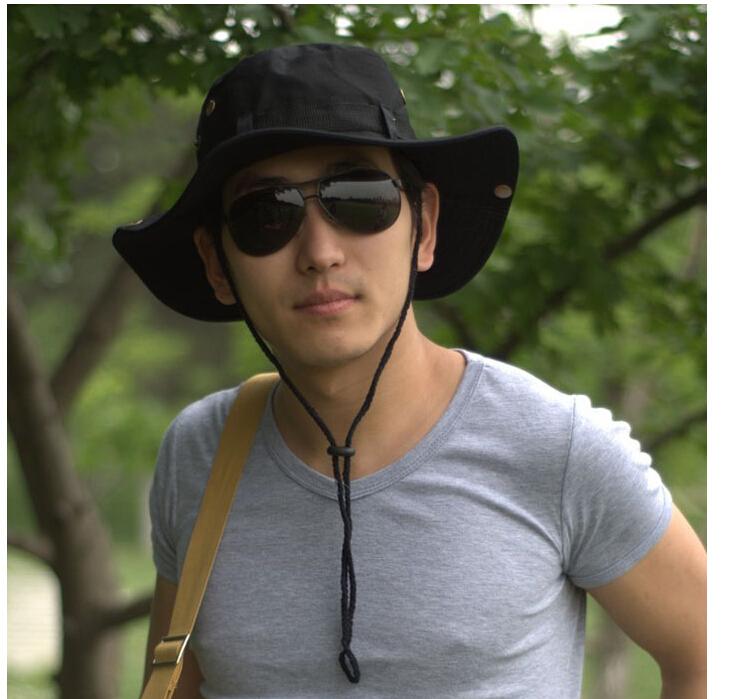 OTWT NEW Outdoor Men Women Unisex Hat for Fishing Trekking Camping Hiking Sport Sun Cap Round Rim Hat (Black)(China (Mainland))