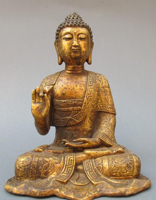 Tibet Buddhist Temple Ancient Bronze Eight treasures Sakyamuni Buddha ...