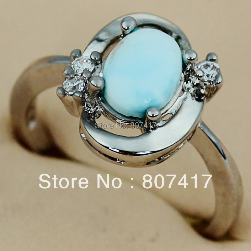 Trendy Larimar and White Cubic Zirconia fashion jewelry Silver Plated Promotion Recommend Hot RING R3536 sz#6 7 8 9(China (Mainland))