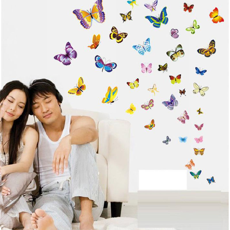 50pcs/pack 3D DIY Butterfly Removeable Wall Sticker For Kids Room Refrigerator Bedroom Mural Poster Decoration Adesivo Wallpaper(China (Mainland))