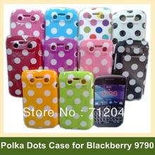 Cute Polka Dots Cover Case for Blackberry 9790(Bellagio) TPU Plastic Case for Blackberry 9790(Bellagio) 30pcs/lot Free Shipping(China (Mainland))