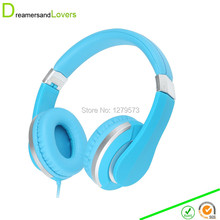 Dreamersandlover Lightweight Foldable Wired Girls Headphones Kids Headphone Includes In-line Microphone and Remote Control Blue