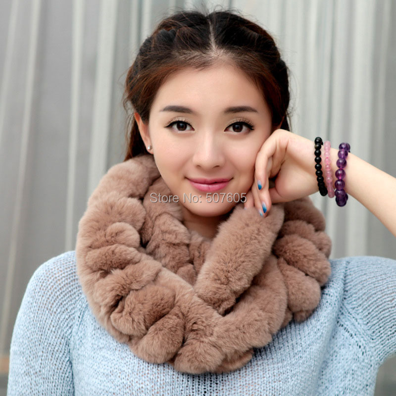 factory wholesale fashion girl's rex rabbit fur boa/rex rabbit fur scarf/rabbit fur neck warmer(China (Mainland))