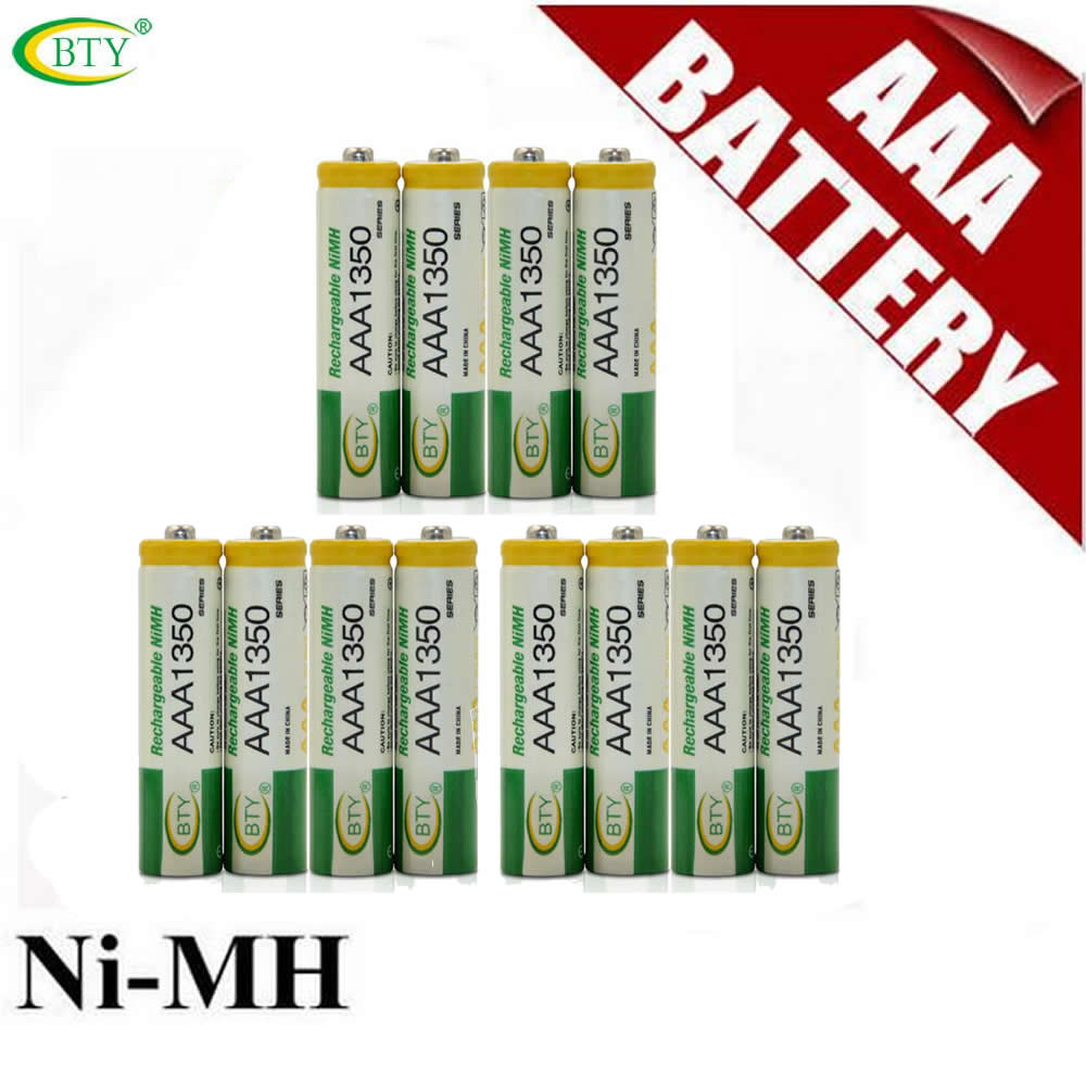 Original BTY AAA 1350 Rechargeable Ni-MH Dry Battery for LED Flashlight/Toy/PDA - B 12PCS/Lot(China (Mainland))