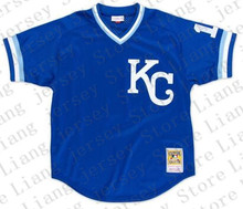 Bo Jackson Jersey, Kansas City Royals #16 Bo Jackson Retro Throwback Blue Baseball Jersey Double Stitched KC M&N Jerseys(China (Mainland))