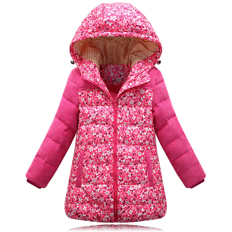 Girls Winter Down Coats 2015 New Long Section Thick Print Hooded Baby Girl Warm Jacket Kids Outerwear Children Parkas Clothes<br><br>Aliexpress