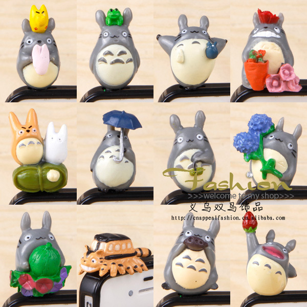 60pcs/ lot free shipping 12 models cartoon Totoro Dust Plugs for Iphone Earphones Anti-Dust Jack Plug Ear Cap phone accessories(China (Mainland))