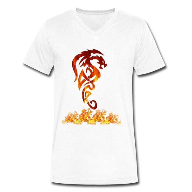 Top brand fire dragon tattoo short sleeve tee shirt swag v for On fire brand t shirts