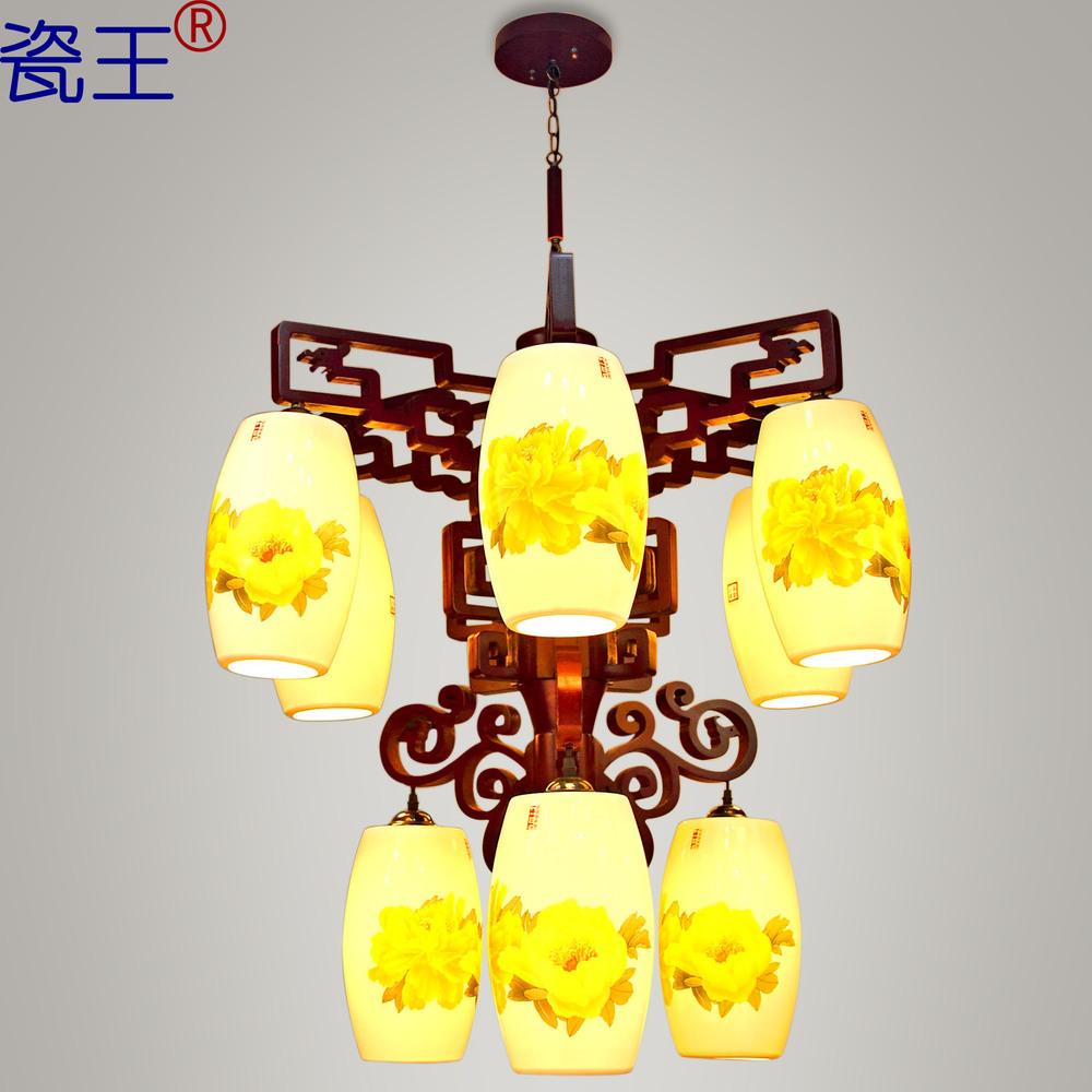 Porcelain Ceramic Lighting dragon king minimalist restaurant garden peony House floor living room with modern Chinese chandelier(China (Mainland))