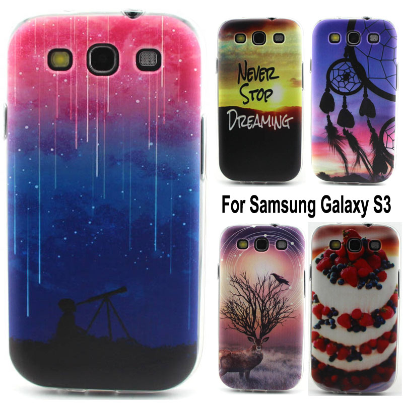 Colorful Printing Drawing Soft TPU Cell Phone Back Case Cover For Samsung Galaxy S3 III i9300 Transparent Phone Cases(China (Mainland))