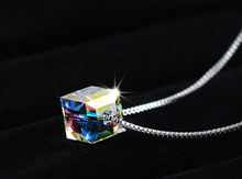 2016 New arrival high quality fashion colorful square design 925 sterling silver ladies`necklaces/short chain/chokers necklace(China (Mainland))