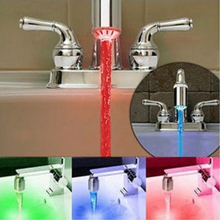New fashion Colorful RGB Glow Automatic Temperature Sensor Shower LED Light Water Faucet Tap wholesale J0983(China (Mainland))