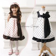 Kids Girls Strap Chiffon Dress Toddler Girl Dresses Silk bowknot Corsage girls clothing Polka Dot Children wedding party Dress