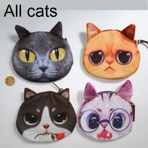 Cat coin purse Zipper cute purse Special unusual bags children's purse kid doll clutch toy baby bags for girls(China (Mainland))