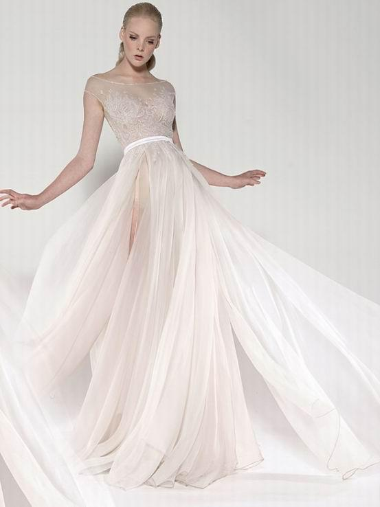 Paolo sebastian sheer wedding dresses a line beaded for Wedding dress with sheer sleeves