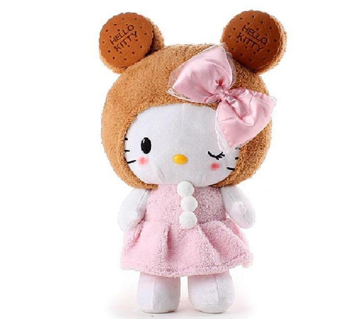 big size 50 cm hello kitty stuffed toy with lovely hat. free shipping(China (Mainland))