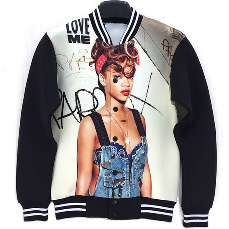 "2016 fashion autumn coat Rihanna ""Love Me"" printed baseball jacket women/men unisex v-neck outwear 3D clothes S/M/L/XL LJ3695(China (Mainland))"