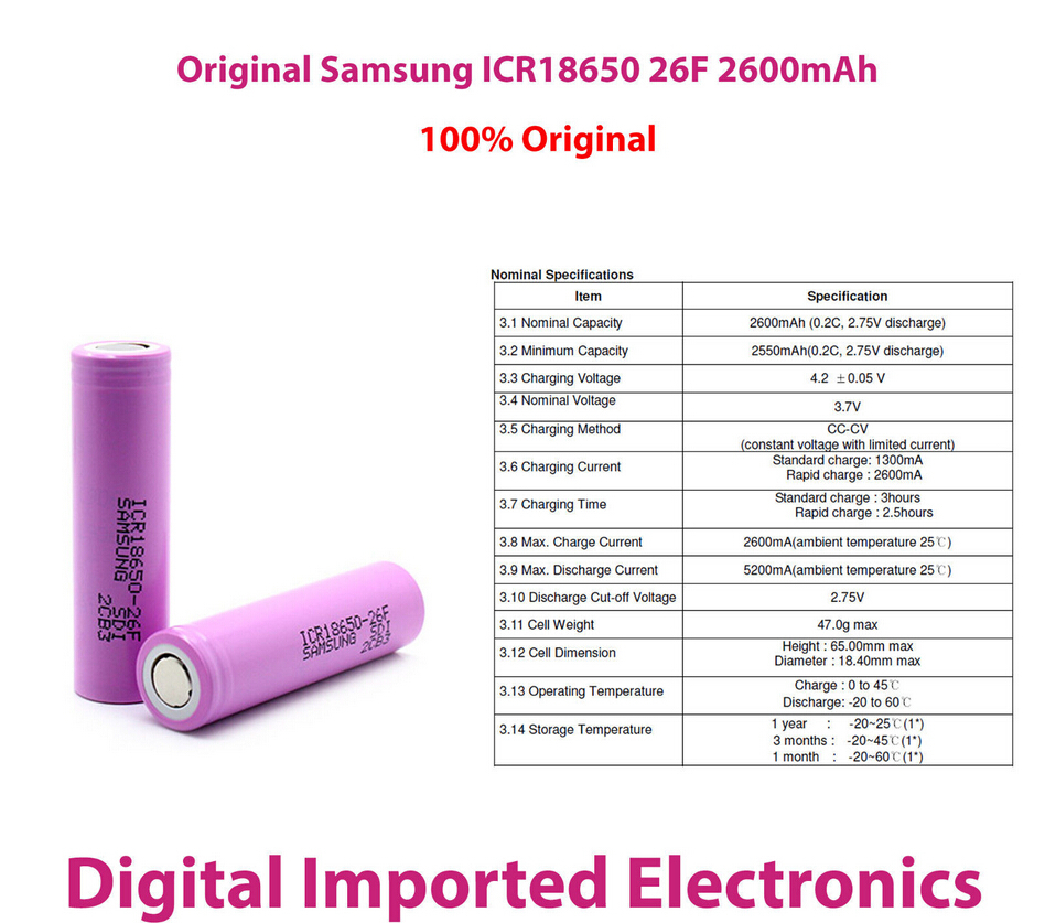 Аккумулятор 1ps 100% 18650 Samsung 3.7V 2600mAh icr18650/2600f 18650 rechargeable battery 2600mAh For Samsung аккумулятор oem 4 samsung 18650 2600mah