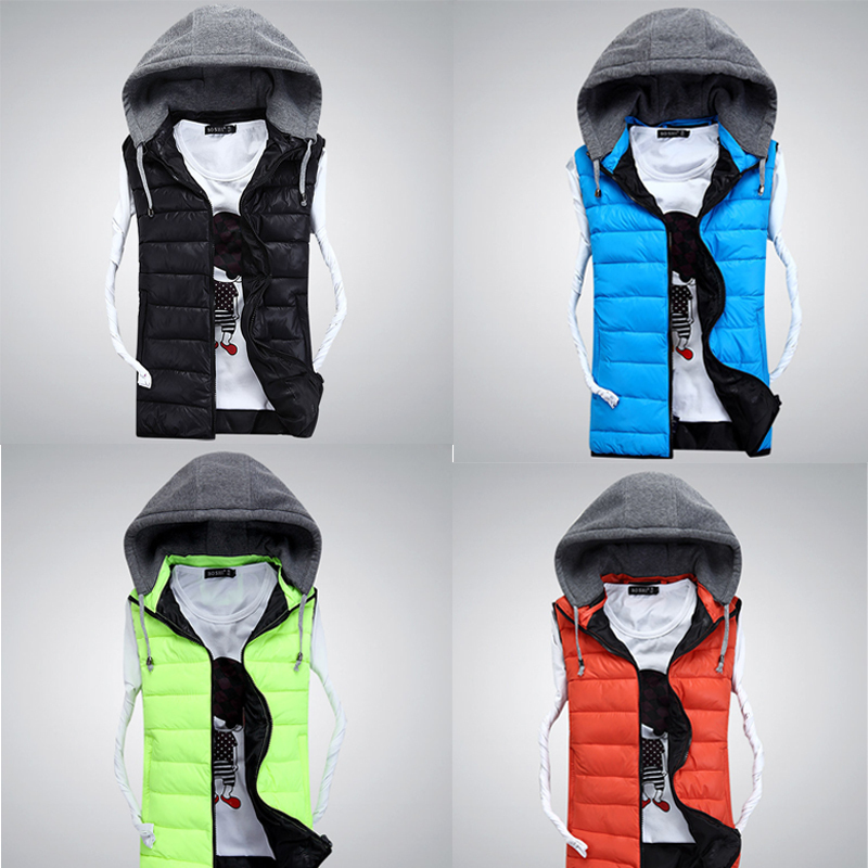 2015 Men Hooded Vest 5XL Cotton Warm Fashion Sleeveless Jacket Winter Brand Casual Hooded Waistcoat Men 4 Colors Free Shipping