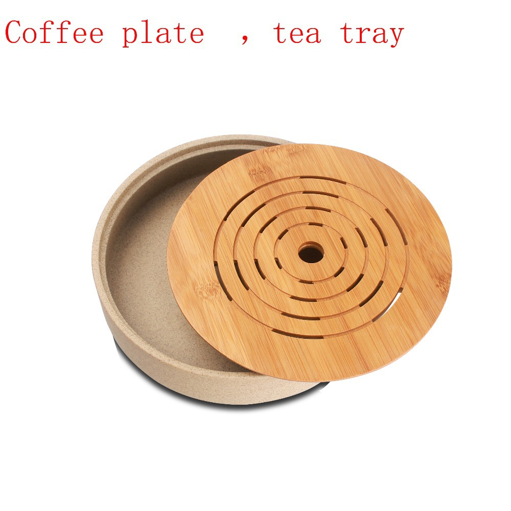 Kung Fu Tea Set Coffee Tea Plate Drinkware Round rough Pottery and Bamboo Tea Tray Chinese