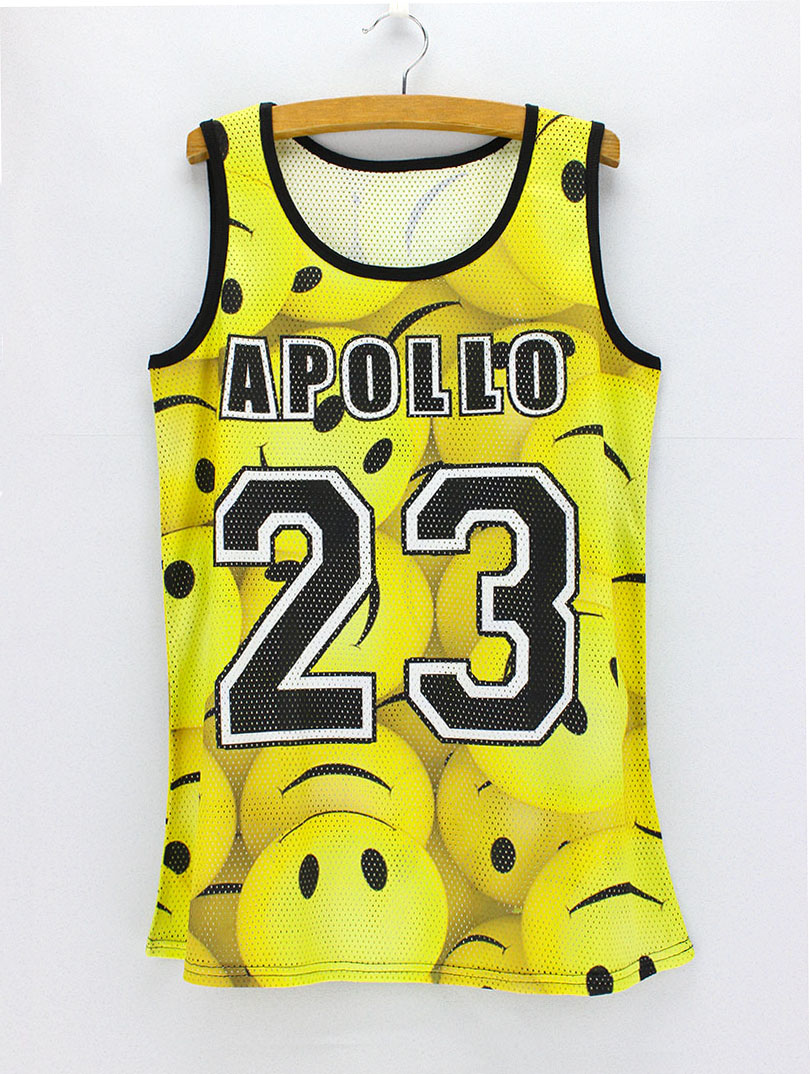 3D yellow Emoticons printed outdoor sporting casual tank tops Breathable fabric tanks 2016 new novelty design summer dress(China (Mainland))
