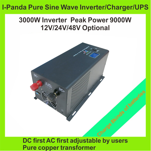 HOT SALE!! 3000W Off Grid Inverter Pure Sine Wave Inverter charger UPS with LCD LED RS232 AC first DC first TPI-3000W invertor(China (Mainland))