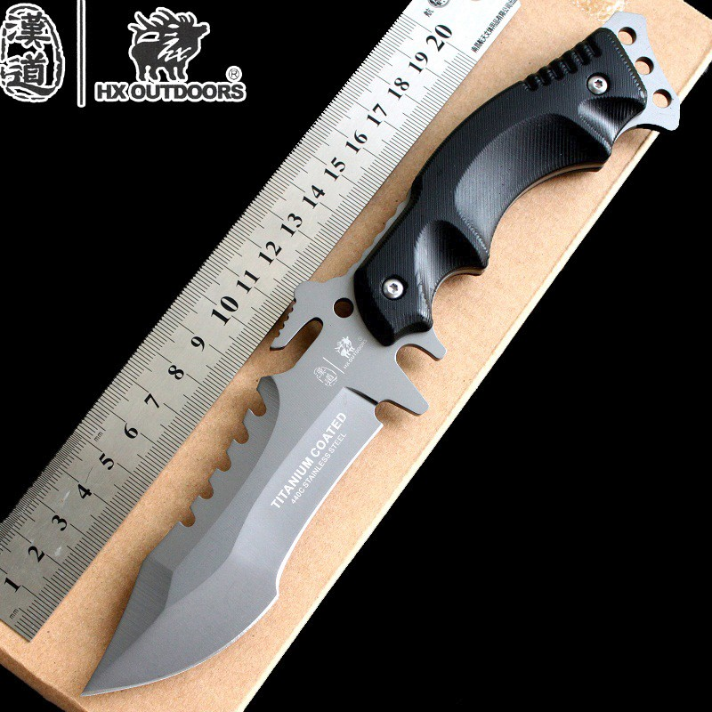 Buy HX Outdoors Survival Knife US Army Military Knife 440C Hunting Camping Hiking Tactical Huntsman Knives Cold Steel Free Shipping cheap