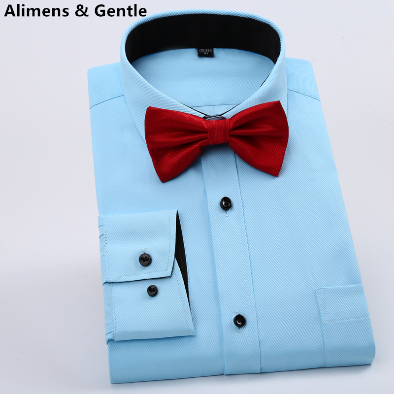 With Bow Tie Solid Color Twill Square Collar Shirt Men's Business Work Office Wedding Dress Long Sleeve Tuxedo Black White Pink(China (Mainland))