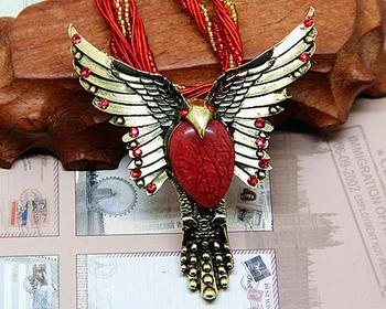 Retro Eagle wings ethnic bohemian braided necklace opal pendant necklace free shipping no mini order