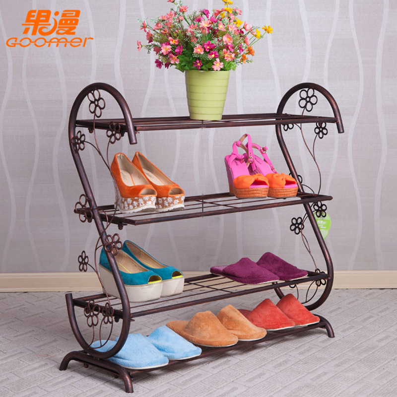 Ou, wrought iron floor shoe rack creative S simple shoe slippers to receive a mounting rack(China (Mainland))
