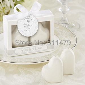 "20(100BOXES)+""A Dash Love"" White Ceramic Heart Salt&Pepper Shakers Bridal Shower Favors+ - Perfect Wedding Favors Co.,Ltd store"