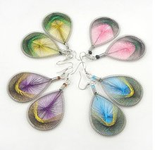 20Pairs/lot Free shipping 2011 new designs fashion thread wrap teardrop earrings(China (Mainland))