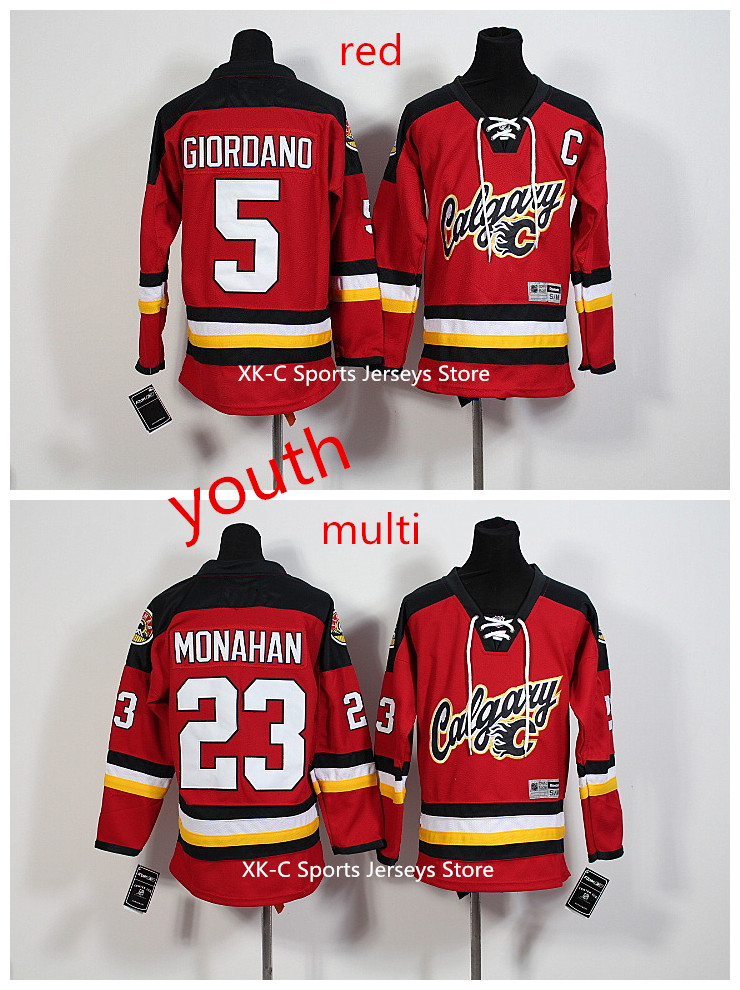 New 2016 Youth NHL Jersey 5 Mark Giordano Red Youth Jerseys Calgary Flames 23Sean Monahan Kids Hockey Jerseys Free Shipping