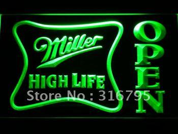 041-g Miller High Life OPEN Bar LED Neon Light Sign