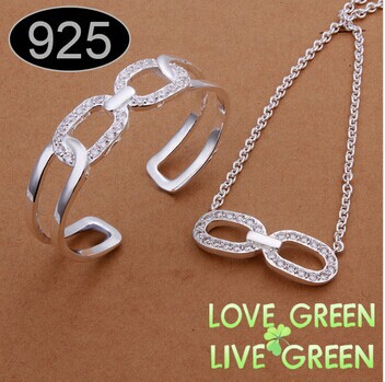2014 925 sterling jewelry necklace +bracelet set Bow Knot design XMAS gift silver plated jewelery 406 - tigertotem Store store