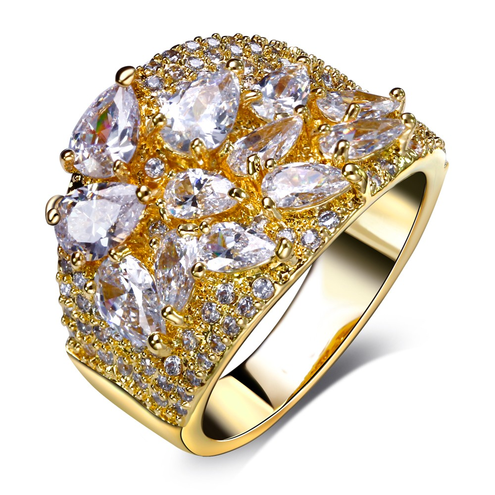 New Beauty Women CZ Rings Top Grade Cubic Zirconia 18K Gold Plated Lead Free Luxury Wedding Jewelry Recomment Gift For Lover(China (Mainland))