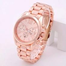 2014 famosa marca de lujo Roma Dial oro rosa dorado completo cuarzo de acero inoxidable reloj de pulsera de regalo para mujeres mujer hombre Unisex