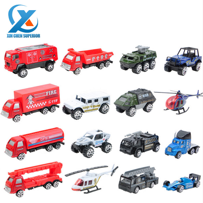 DiBang 16pcs/set 1:64 Scale Model Mini Alloy Sliding Car Super City Vehicle Fire Truck Children Diecast Toys Car for Kids(China (Mainland))