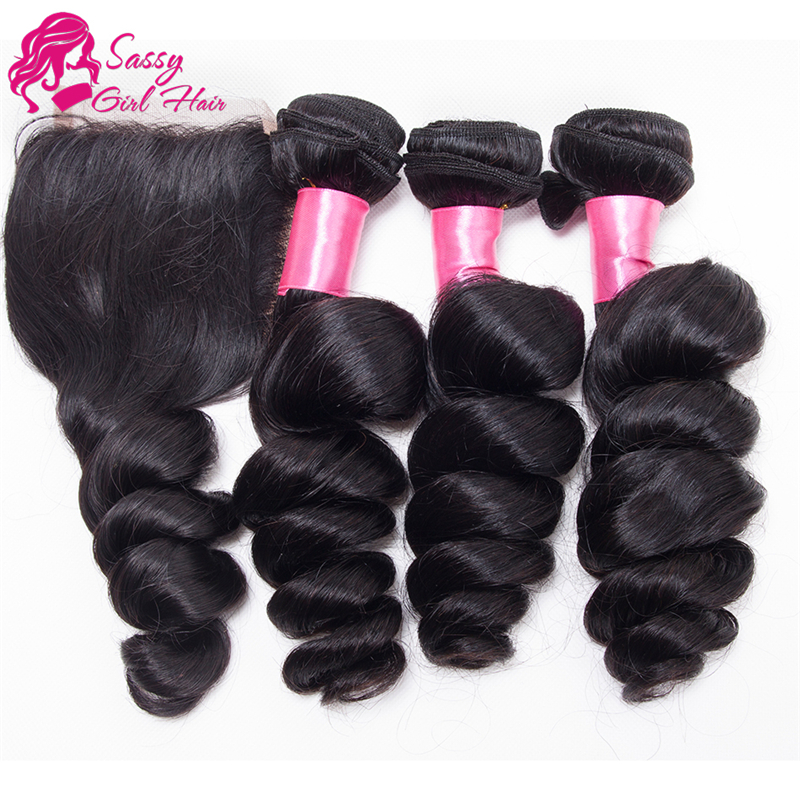 Brazilian Loose Wave Virgin Hair With Closure 1b 3 Bundles Loose Wave With Closure 6A Unprocessed Cheap Human Hair With Closure