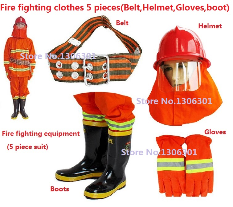 97 style fluorescent orange Combat gear Heat insulation flame retardant fire suit Fire protection clothing 5 pieces