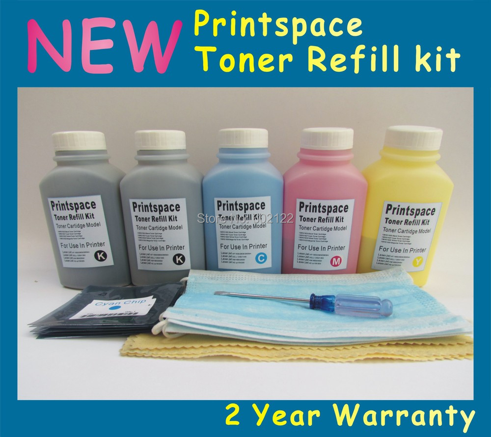 5x NON-OEM  Toner Refill Kit + Chips Compatible  For Dell 1250 1250c 1350 1355 1355cn 2BK+CMY Free shipping<br><br>Aliexpress
