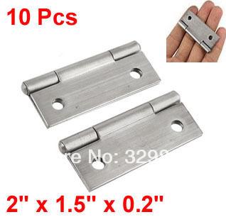 "Drawer Door 10 Pcs 2"" Length Silver Tone Butt Hinge(China (Mainland))"