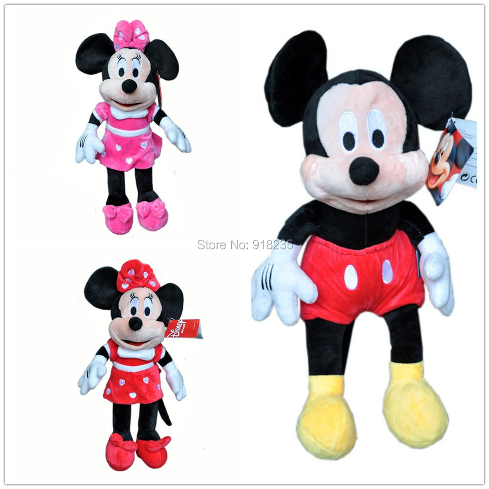 """Free Shipping EMS 50/Lot New Mikcey Minnie Mouse Plush Doll Soft Toy 14"""" Good For Gift(China (Mainland))"""