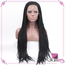 Black Long Hand Braided Box Braiding Lace Front Wigs Synthetic Glueless Hair Wigs for Women(China (Mainland))