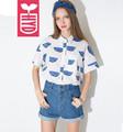 HYH High quality 2016 Womens Formal Print Watermelon Shirts Ladys Loose Short Sleeves Tees Tops Back