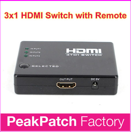 Free Shipping 3-port HDMI Switch 3x1 3 In 1 Out Auto Switch Support HDCP, 3D, 1080P, HD Audio With IR Remote and Power Adapter(China (Mainland))