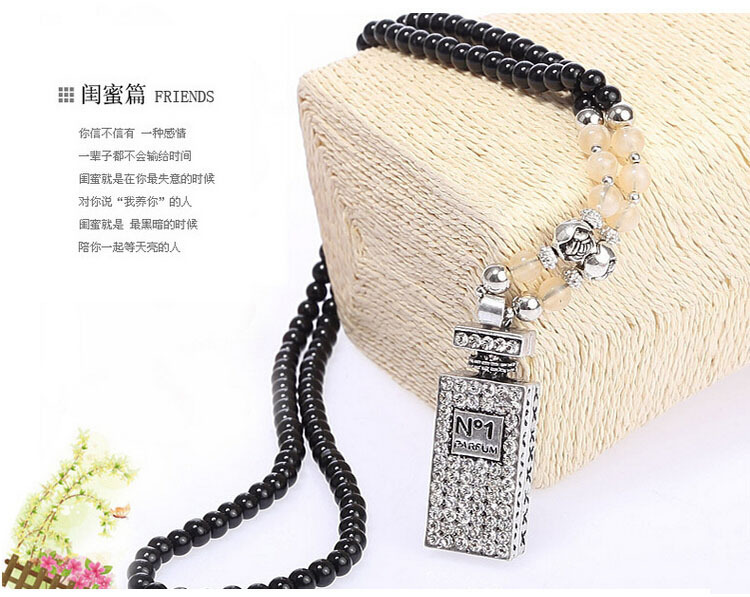 Fashion crystal Perfume bottles sweater chain women all-match decorative Necklace Perfume Bottle Beaded sweater chain(China (Mainland))